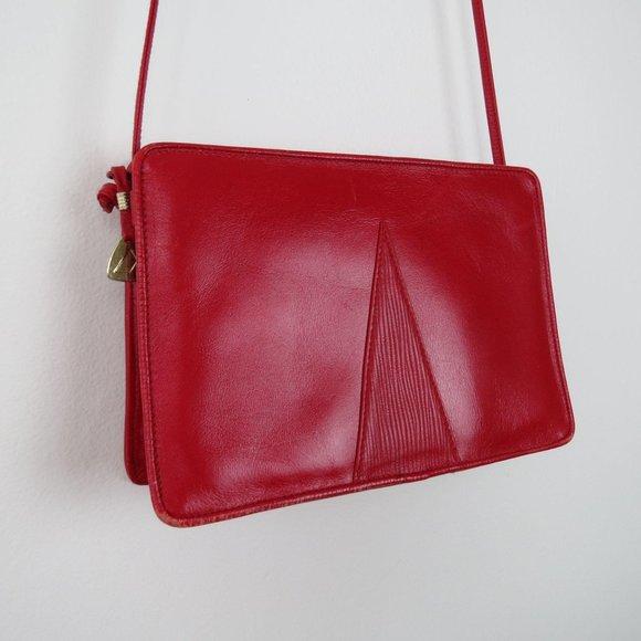 Vintage 80s Red Leather Liz Claiborne Purse